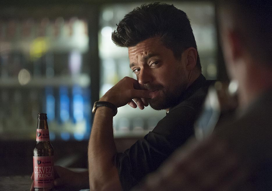 Dominic Cooper as Jesse Custer, Joseph Gilgun as Cassidy - Preacher _ Season 1, Pilot - Photo Credit: Lewis Jacobs/Sony Pictures Television/AMC